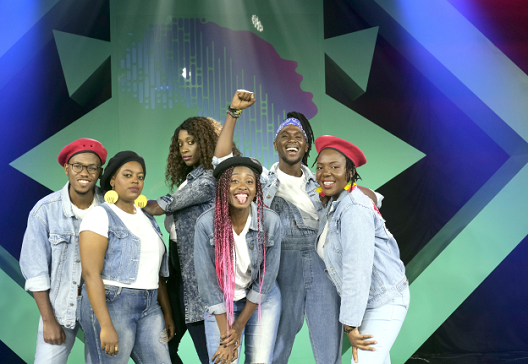 An African group performs live at the Old Mutual Amazing Voices music competition in 2019.