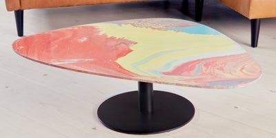 Poured paint coffee table