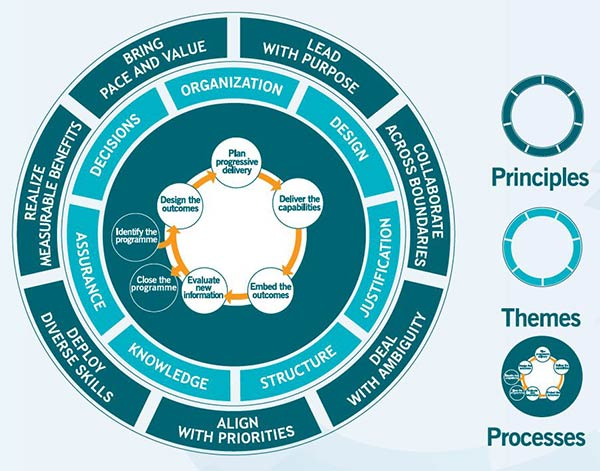 Image of a diagram representing the three key elements of programme management: principles, themes and  processes