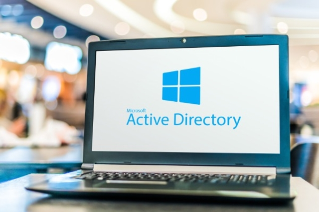 Laptop screen showing Active Directory