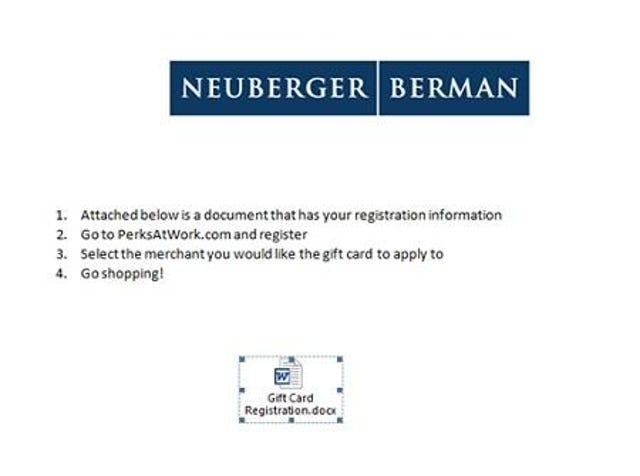 Neuberger Berman Gift Card Perk