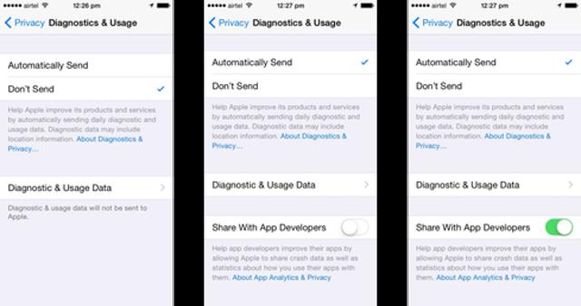 iOS: Disable Diagnostics And Dev Features