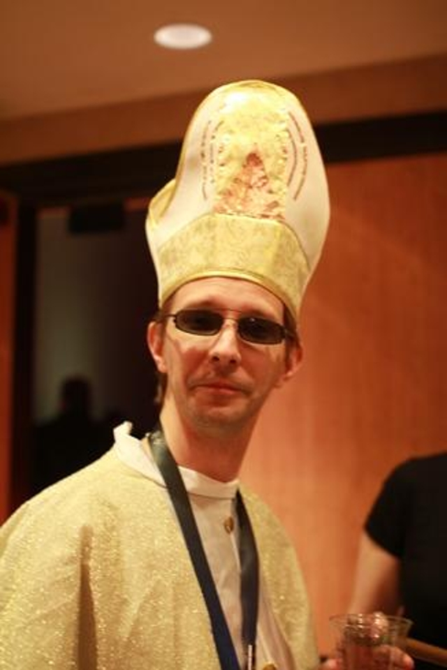 Nope, that's no (real) pope. It's the Pope of the Church of WiFi, who went around DEF CON absolving users of their WiFi sins.