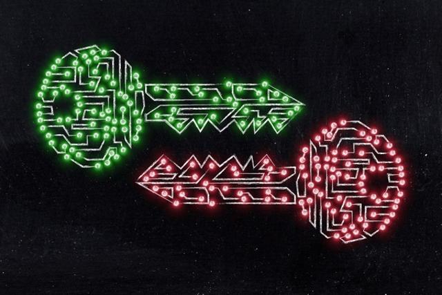 Intertwined keys depicting encryption keys