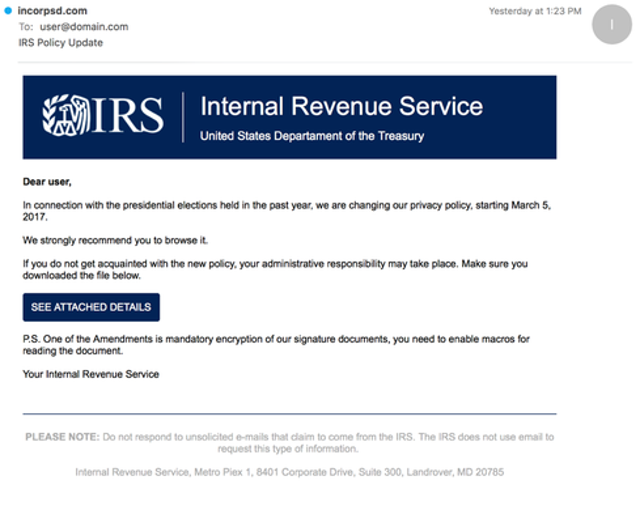 IRS Privacy Policy Lure