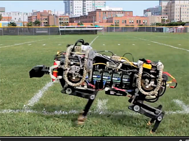 """Robotic """"Cheetah""""DARPA's Cheetah, already the fastest four-legged robot in the world, now uses a quiet electric motor for it"""