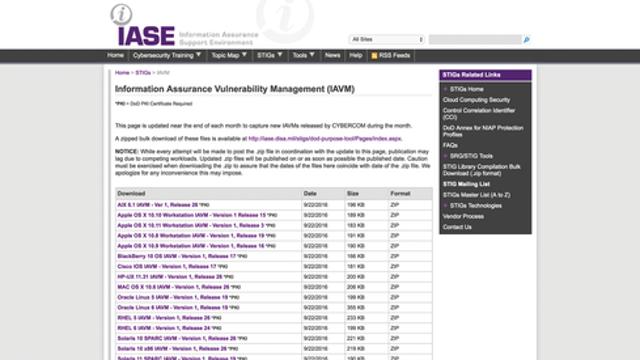 DISA IAVA Database And STIGS