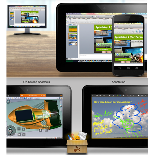 With more people toting Android tablets, their potential as remote access devices grows, as well. Splashtop 2 Remote Desktop