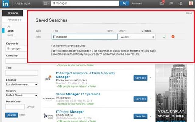 9. Save a job search.
