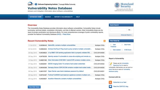 CERT Vulnerability Notes Database (VNDB)