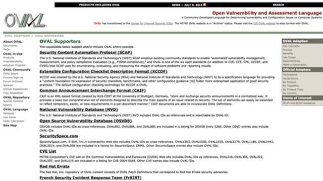 Open Vulnerability And Assessment Language (OVAL) Interpreter And Repository