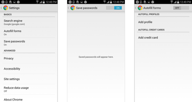 Android: Password History