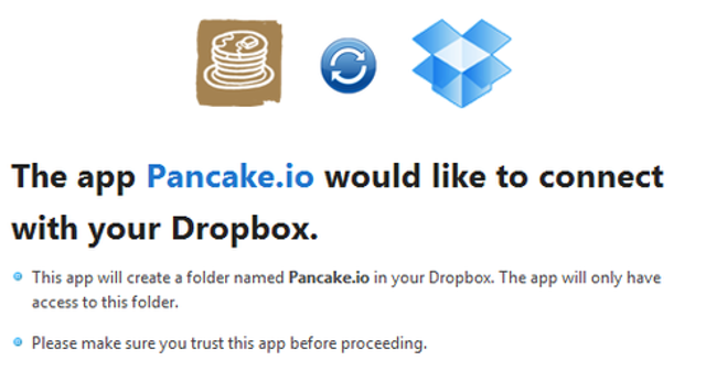 Pancake IO works with Dropbox to create a web page from any text file. Users save those files into special Pancake folders in