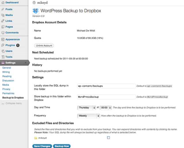 The WordPress Backup to Dropbox app automatically backs up blogs on a regular schedule. Simply set a day, time, and frequency