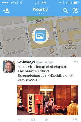 Twitter's Nearby timeline shows location-based tweets.