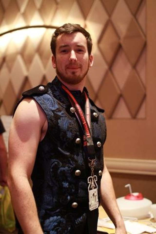 Rocking a tapestry vest at the DEF CON Tamper Evident Contest.