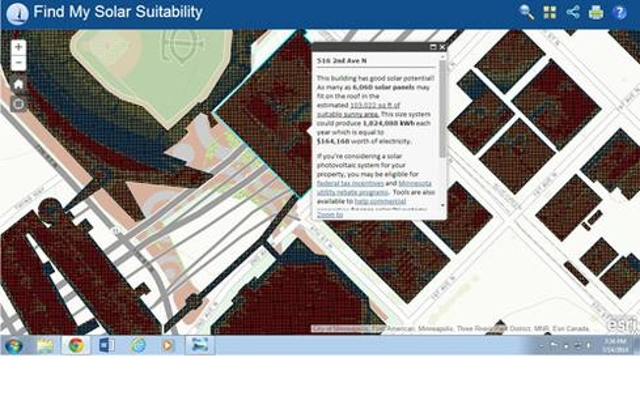 Analyzing locations for solar panelsIn Minneapolis, GIS developers created a city-wide map analyzing the electricity-generati