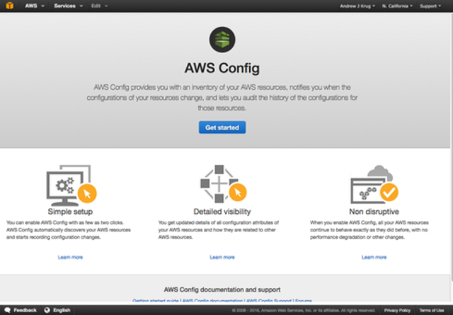 2. AWS Config starts up (easily) in your account.