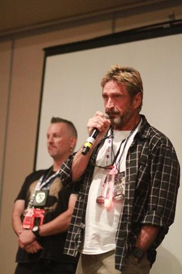 John McAfee (yes, that's him) made surprise guest speaker appearances at BSides and DEF CON, sporting a look reminiscent of 1