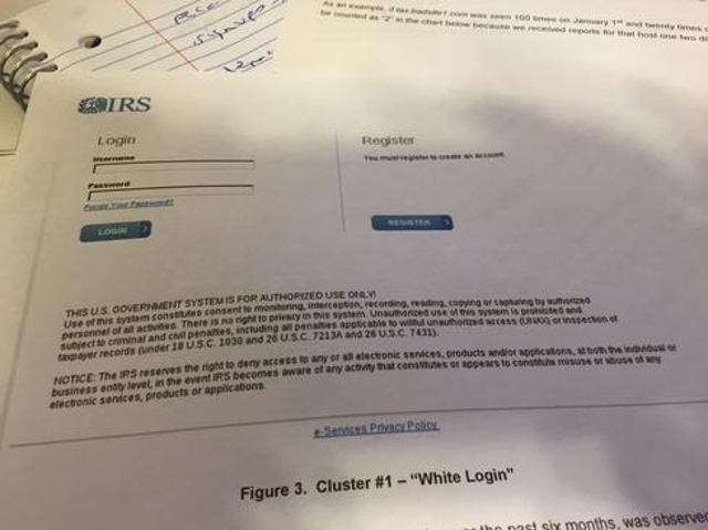 Cluster #1 – IRS White Login