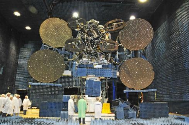 Very big satellite, much smaller waves