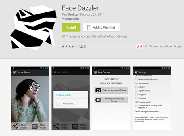 Harvey's CV Dazzle inspired the developer Petr Prokop's Android app Face Dazzler. Given reports last month that the National