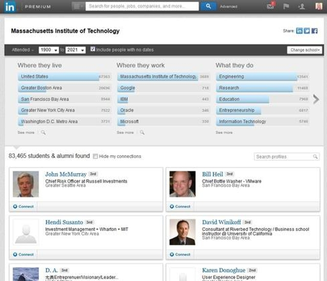 3. Find job leads with LinkedIn's Alumni Tool.