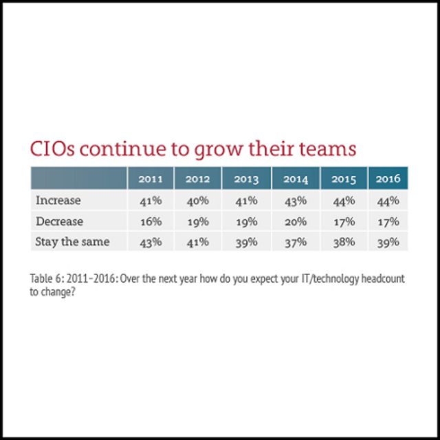 CIO Team Expansion Holds Steady