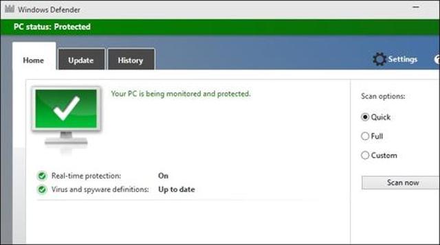 Malware Protection: Windows Defender