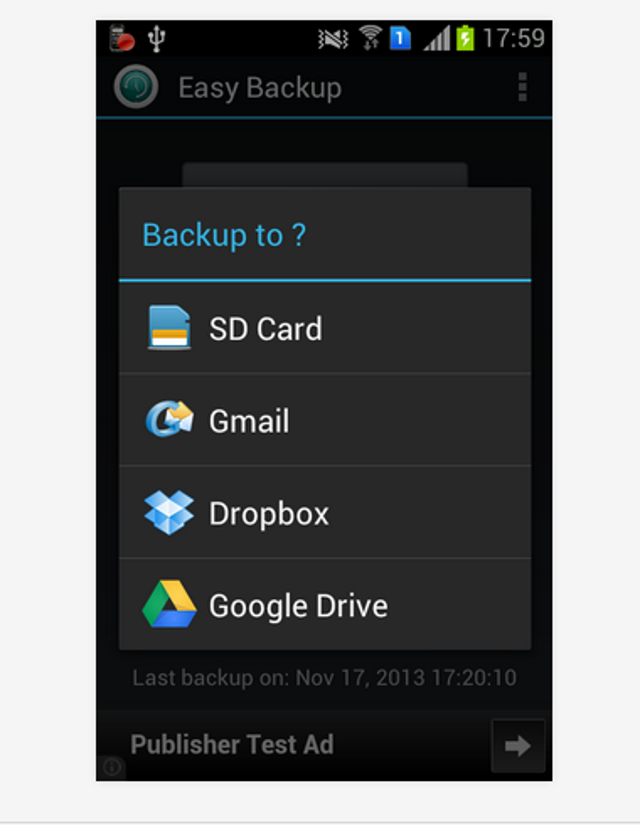 It's worth reiterating that Dropbox can back up an Android phone via free apps such as Easy Backup. Users can easily backup a