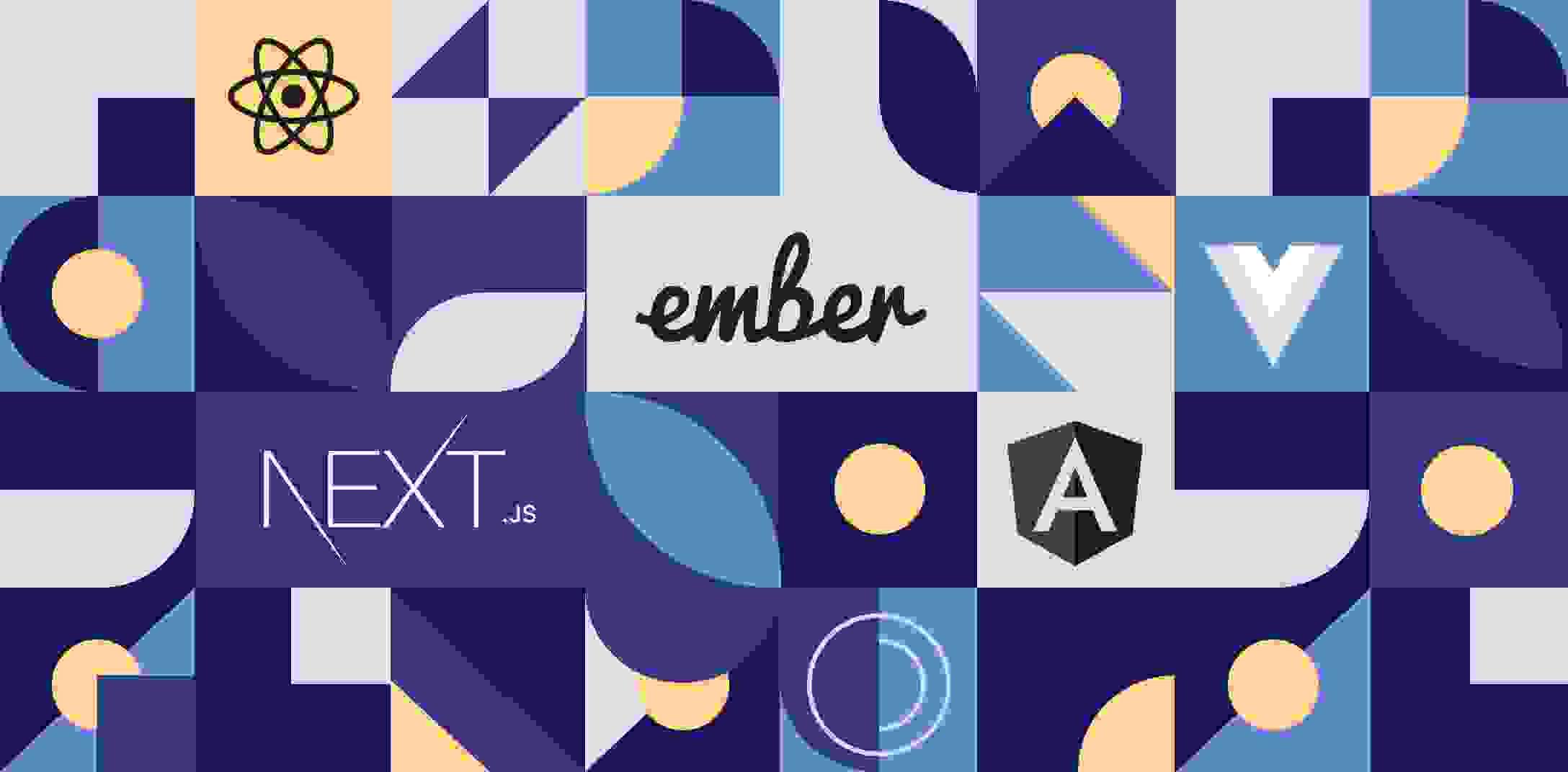 Logos of the top five JavaScript frameworks