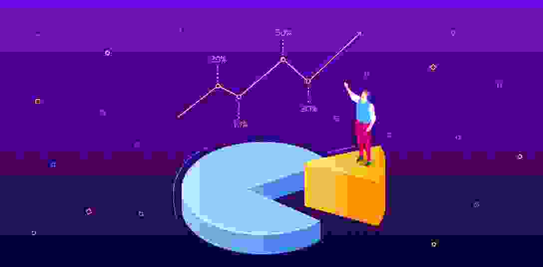 Isometric picture with a man standing on the sector of a pie chart
