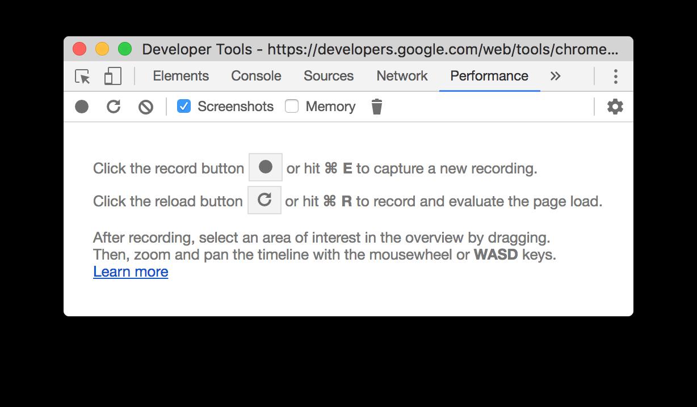 Google's performance panel