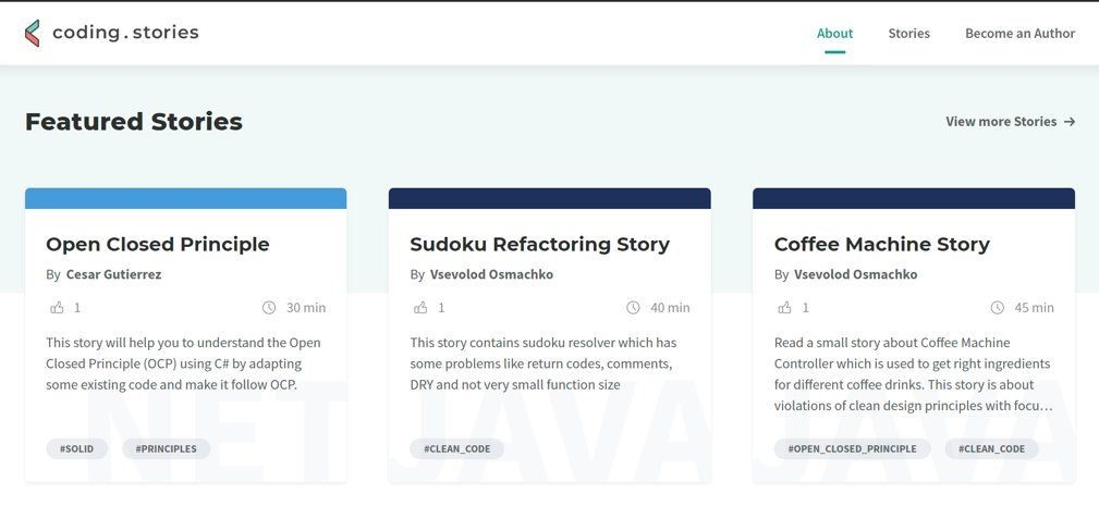 A screenshot of the featured stories from the coding stories website