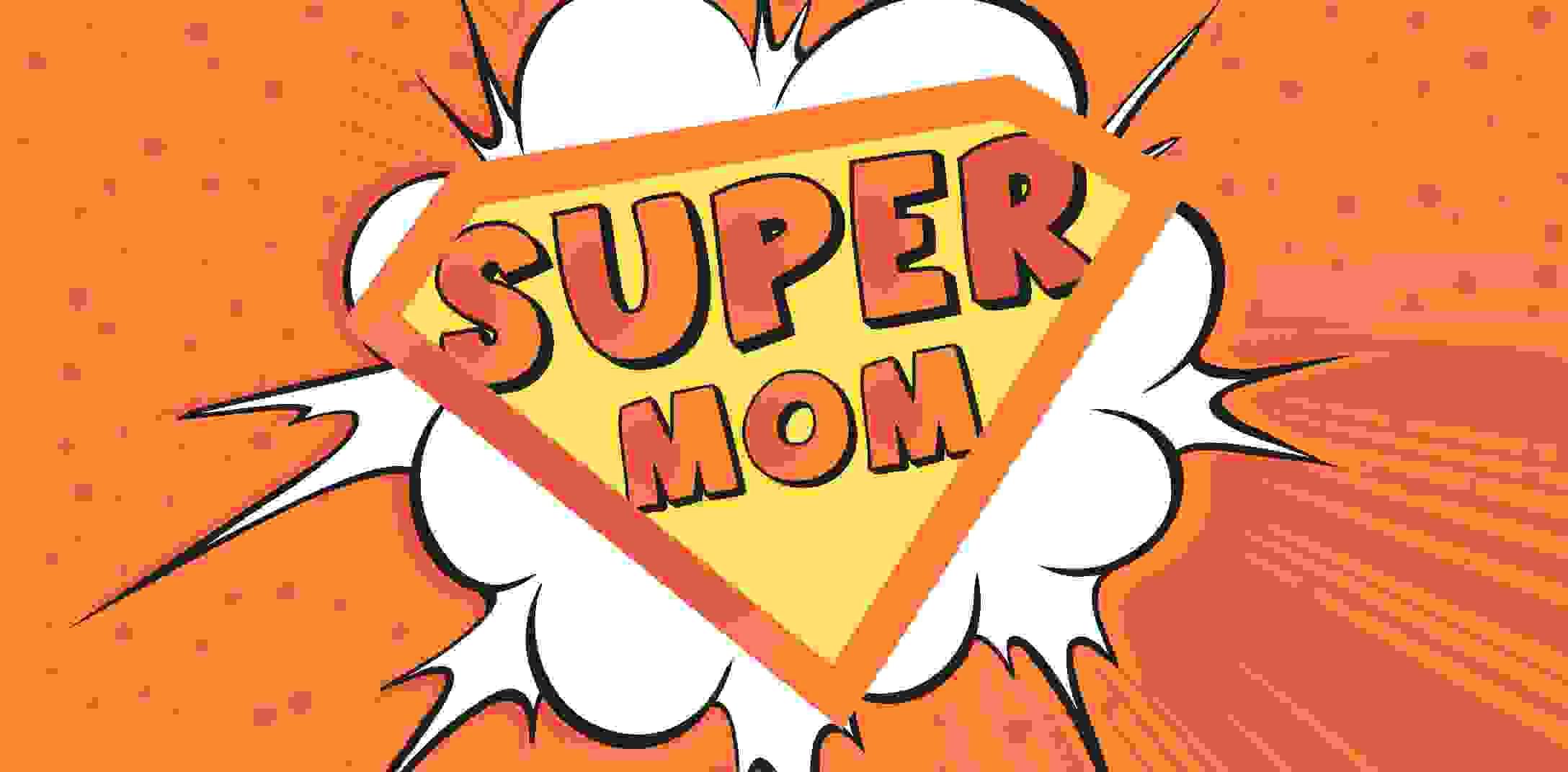 A superhero logo supermom