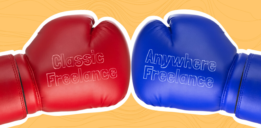 A red boxing glove reading classic freelance and a blue boxing glove reading Anywhere Freelance