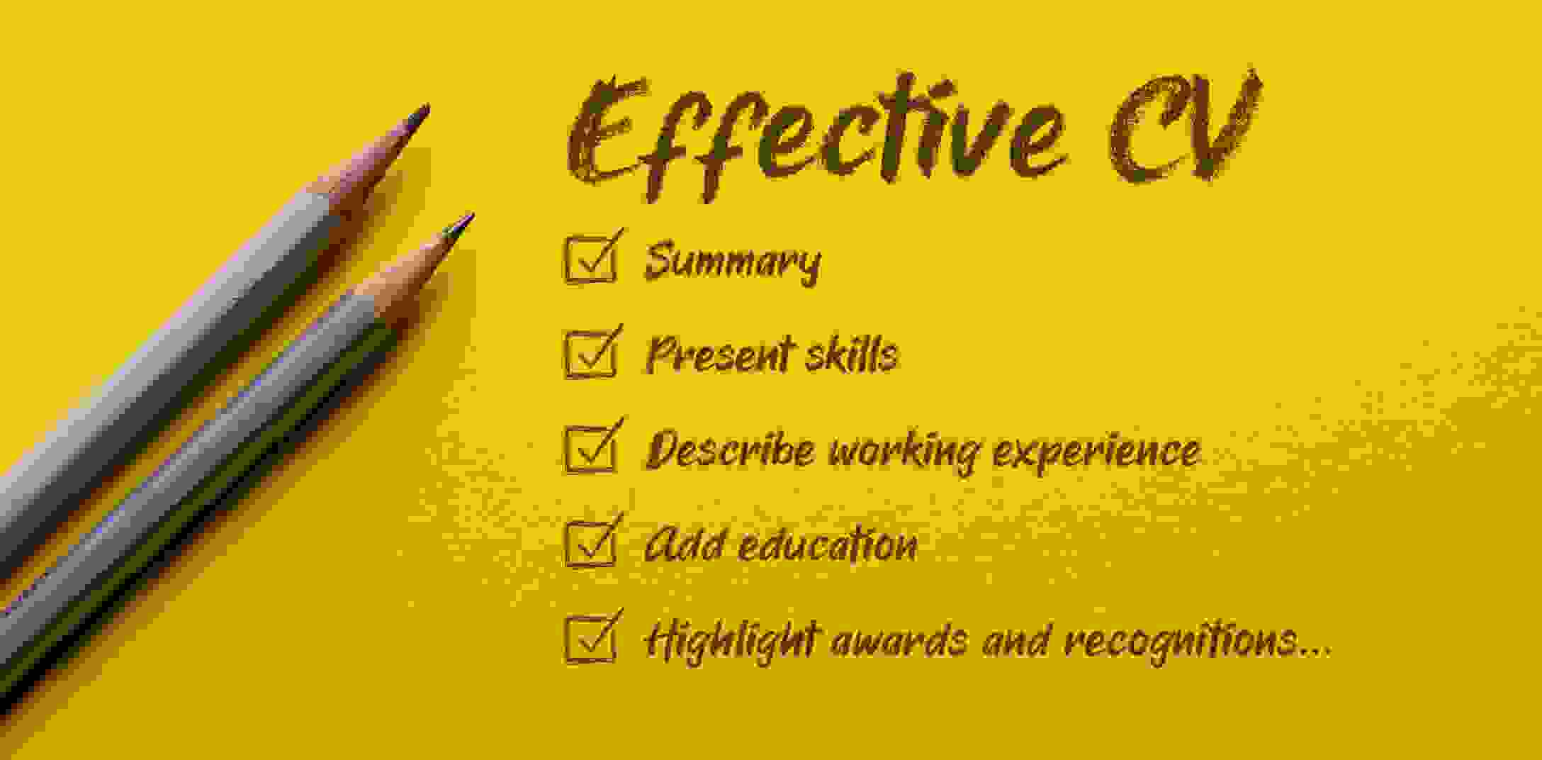 Yellow list of paper with bullet points that indicate the cornerstones of writing an effective CV