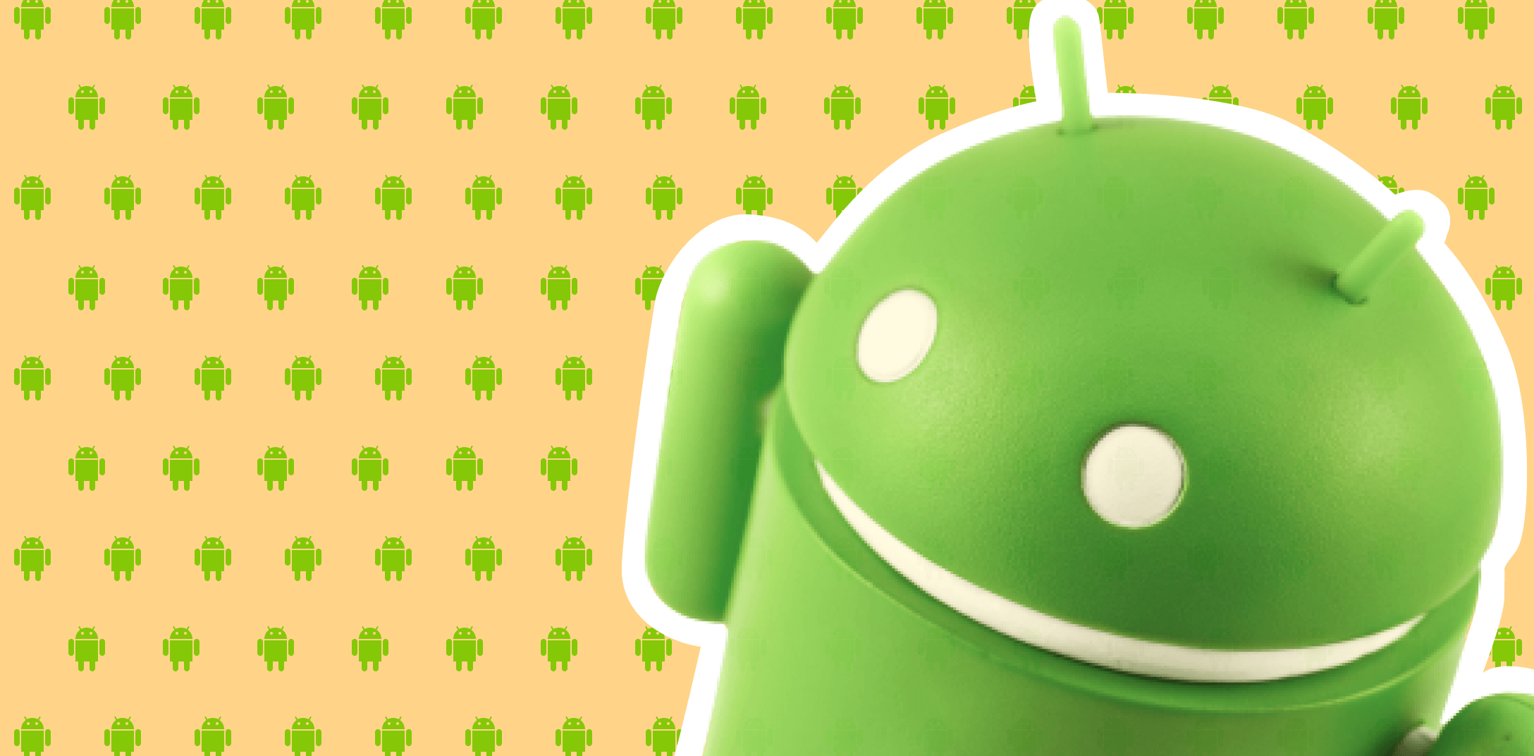Android official character on the yellow background