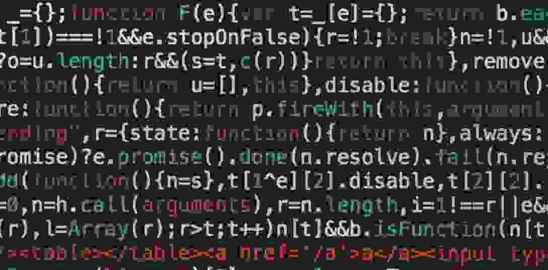 Lines of code with elements of different colours