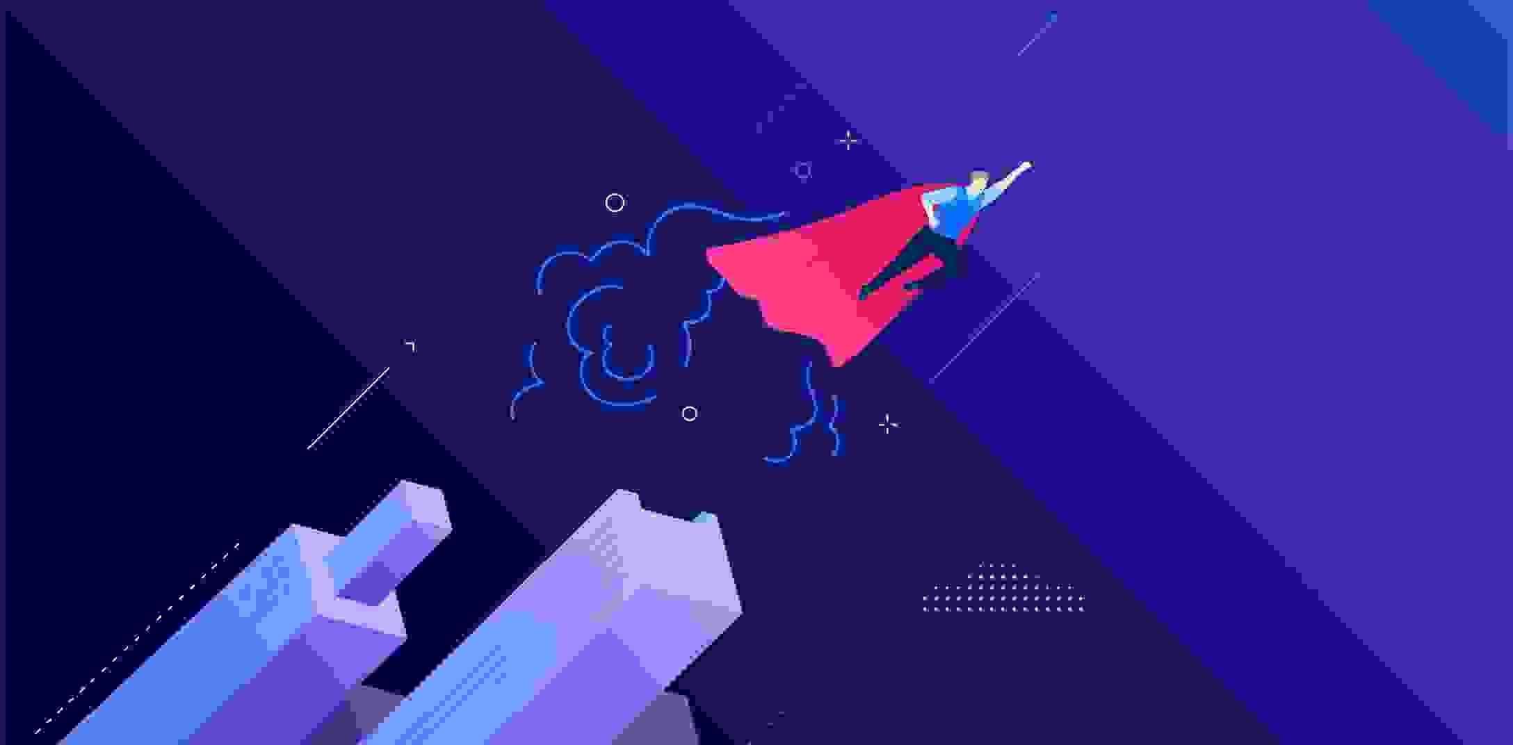 Superman flies skyward with the dark blue background