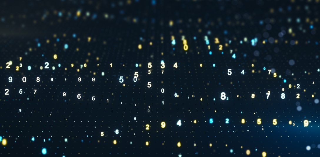 Digital code on the dark blue background