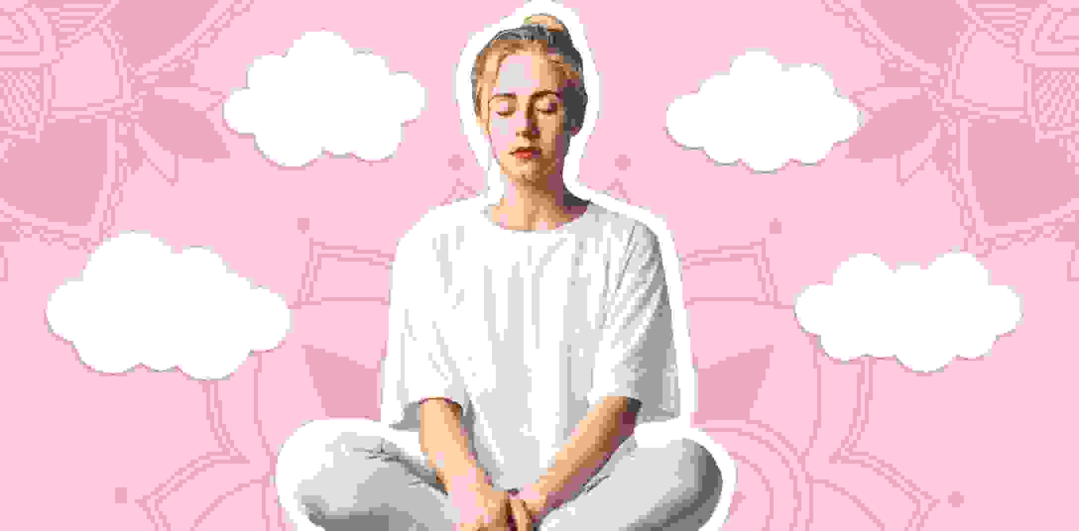 A woman is practising mediation to get rid of the stress