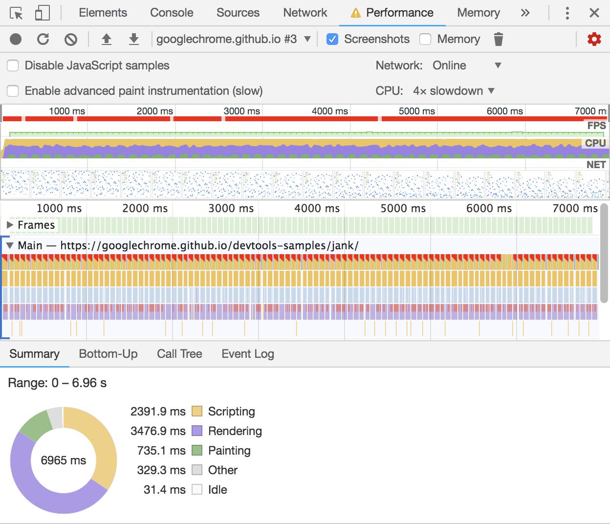 Screenshot of Profiler tool