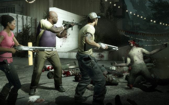 The Left 4 Dead games are designed to encourage cooperation. Source: http://steampowered.com