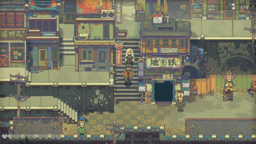 An Eastward screenshot of multiple people walking through a multi-level city. Humble storefronts are scattered across each level and stairs connect different levels.
