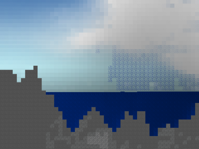 Early prototype screenshot experimenting with world generation and fluid dynamics driven weather.