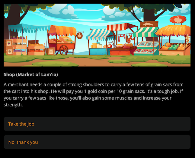 Screenshot from the game on Arcweave's play mode, showing a cartoonish illustration of a food market, followed by the action description, and the player's clickable choices.