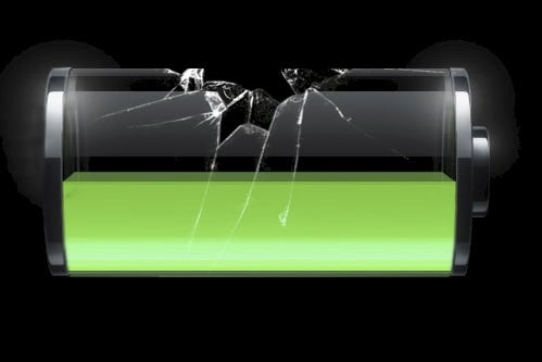 graphic of a half full iPhone batter with broken glass around it