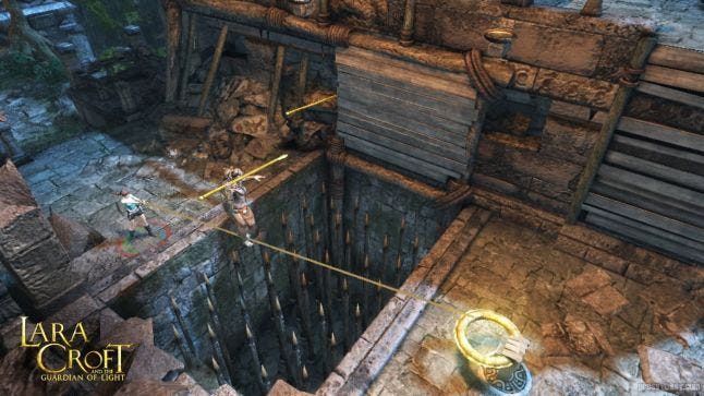 Players must work together to traverse the obstacles presented in Lara Croft and the Guardian of Light. Source: http://laracroftandtheguardianoflight.com