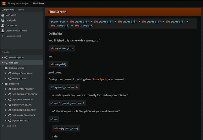 Screenshot from Arcweave: the code that runs under the hood, at the game's final screen.